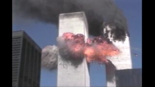 2nd plane hit – zoom on debris falling to WTC 5 roof